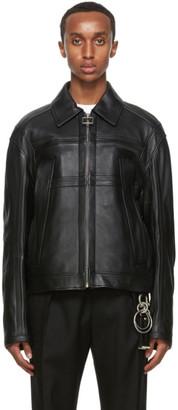 Wooyoungmi Black Leather Paneled Jacket