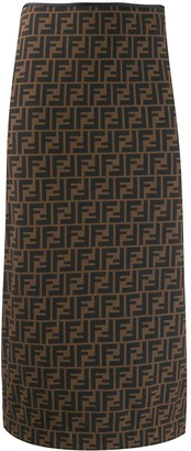 Fendi FF print pencil skirt