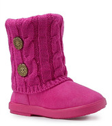 Shoe Box Trading Girls' Casual boots fuchsia - Fuchsia Button-Accent Quilted Bootie - Girls