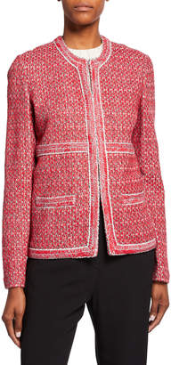 St. John Artisinal Basket Weave Drop-Shoulder Jacket w/ Trim Detail