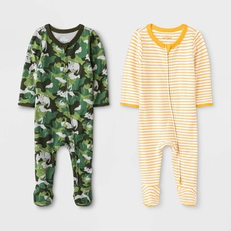 Cat & Jack Baby Boys' Camo Critter And Striped Pajama Romper - Cat & JackTM Yellow/