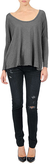 AG Jeans The Boxy Scoop Tee - Heather Ash