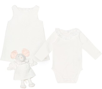 Chloã© Kids Cotton onesie, dress and stuffed mouse set