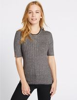 Marks and Spencer PETITE Textured Half Sleeve Jumper