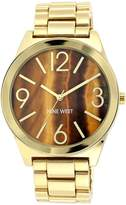 Nine West Women's NW/1584BNGB Tiger Eye Dial Gold-Tone Bracelet Watch
