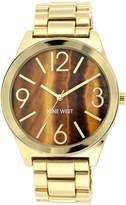 Nine West Women's NW/1584BNGB Tiger Eye Dial Gold-Tone Bracelet Watch