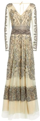 Cucculelli Shaheen Paisley Embellished Gown
