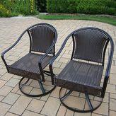 Oakland living Tuscany Swivel Wicker Patio Chair 2-piece Set