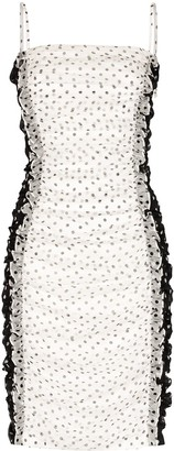House of Holland Polka Dot Gathered Mini Dress