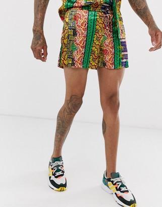 Urban Threads satin shorts in multi print