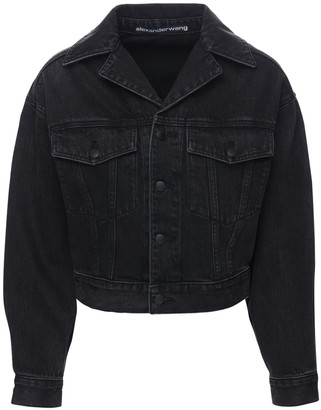 Alexander Wang Draped Sleeves Cotton Denim Jacket