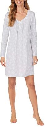 Carole Hochman Soft Jersey Long Sleeve Sleepshirt (Red Ground Floral) Women's Dress