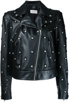 Yves Salomon studded biker jacket - women - Silk/Lamb Skin - 36