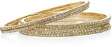 Isharya Set of six 18-karat gold-plated cubic zirconia bangles