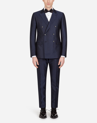 Dolce & Gabbana Double-Breasted Martini Suit With Small Jacquard Stars