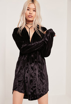 Missguided Velvet Oversized Shirt Dress Black