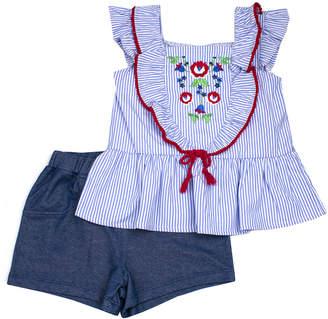 Nannette Kids Girls' Casual Shorts BLUE - Blue Floral Angel-Sleeve Top & Blue Shorts - Toddler