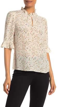 Rebecca Taylor Vivianna Elbow Length Sleeve Floral Print Silk Top