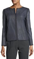 Lafayette 148 New York Keaton Embossed Leather Grosgrain-Trim Jacket