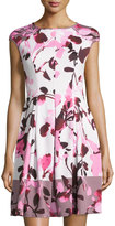 Maggy London Paintbrush-Print Scuba Fit & Flare Dress, Soft White/Pink