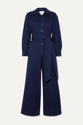 KING & TUCKFIELD Belted Denim Jumpsuit - Storm blue