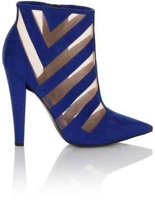 Paper Dolls Footwear Cobalt Blue Mesh Insert Heel Boots
