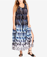 City Chic Trendy Plus Size Feather-Print Maxi Dress