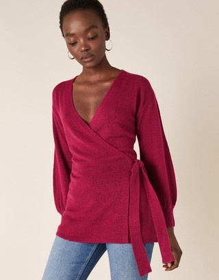 Monsoon Wrap Knit Cardigan Pink