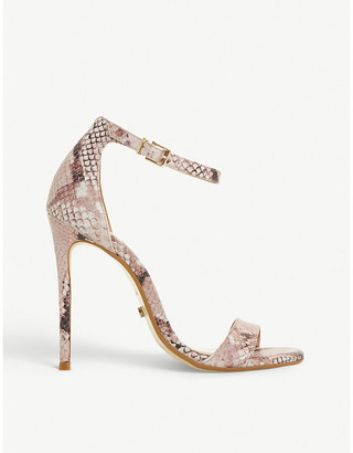 Dune Moxie snakeskin embossed leather sandals