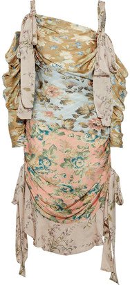 Zimmermann Elixir Cold-shoulder Floral-print Silk Crepe De Chine Dress