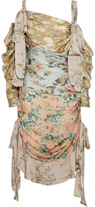 Zimmermann Unbridled Elixir Cold-shoulder Floral-print Silk Crepe De Chine Dress