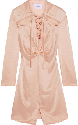 Nanushka Pantha Lace-up Crinkled Washed-satin Shirt Dress