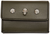 Alexander McQueen Green Mini Skull and Studs Trifold Wallet