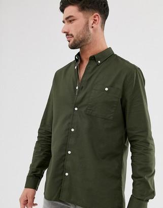 Burton Menswear organic long sleeve oxford shirt in khaki-Green