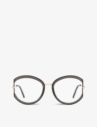 Tom Ford FT5669-B round-frame metal and schwarz glanz optical glasses
