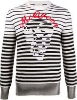 Alexander McQueen skulls and stripes crewneck jumper