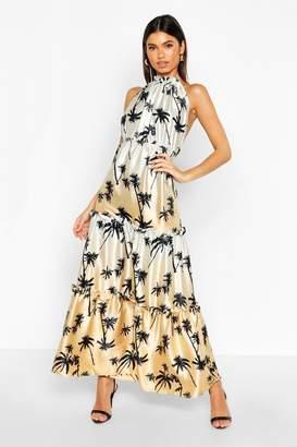 boohoo Palm Print High Neck Column Maxi Dress