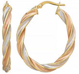 Fine Jewellery 14k Tri-Tone Gold Twist Hoop Earrings