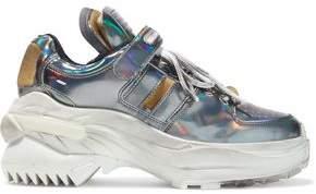 Maison Margiela Retro Fit Deconstructed Holographic Faux Leather Sneakers