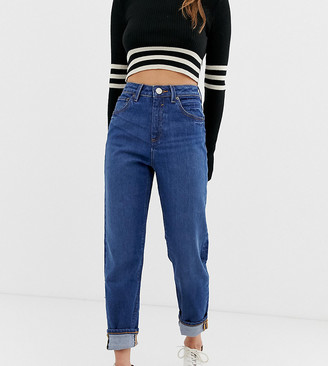 Asos DESIGN Petite Recycled Farleigh high waisted slim mom jeans in dark wash