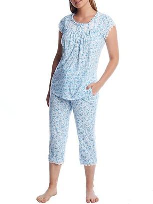 Eileen West Vintage Teal Knit Capri Pajama Set