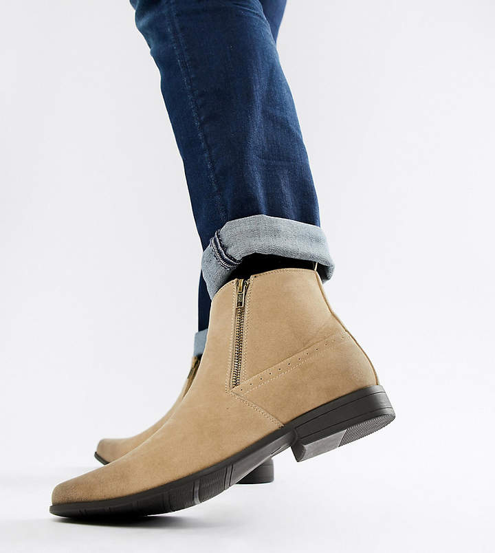 64092b87b48 Design Wide Fit chelsea boots in stone faux suede with zips