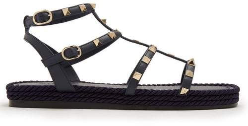 Valentino Torchon Rockstud Leather Sandals - Womens - Navy