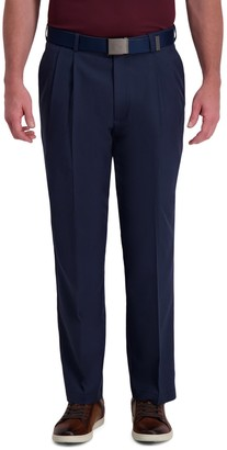 Haggar Men's Cool Right Performance Flex Stria Classic-Fit Pleated Pants