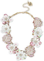 Betsey Johnson Gold-Tone Multi-Stone Flower Statement Necklace