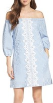 Eliza J Women's Lace Trim Seersucker Off The Shoulder Dress