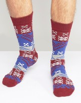 Asos Holidays Slipper Socks With Fair Isle Design