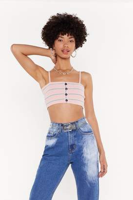 Nasty Gal Womens Hold the Line Striped Crop Top - Pink