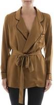 Gold Hawk Women's Brown Silk Jacket.