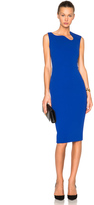 Victoria Beckham Matte Crepe Curve Neck Fitted Dress in Cobalt Blue